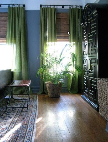 Like Green Curtains With Grey Blue Wall