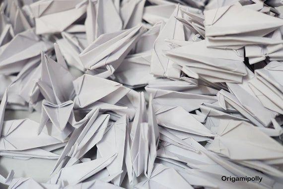 "Photo of 1000 Origami Cranes White Origami Paper Cranes7.5cm 3"" Origami Crane for Wed…"