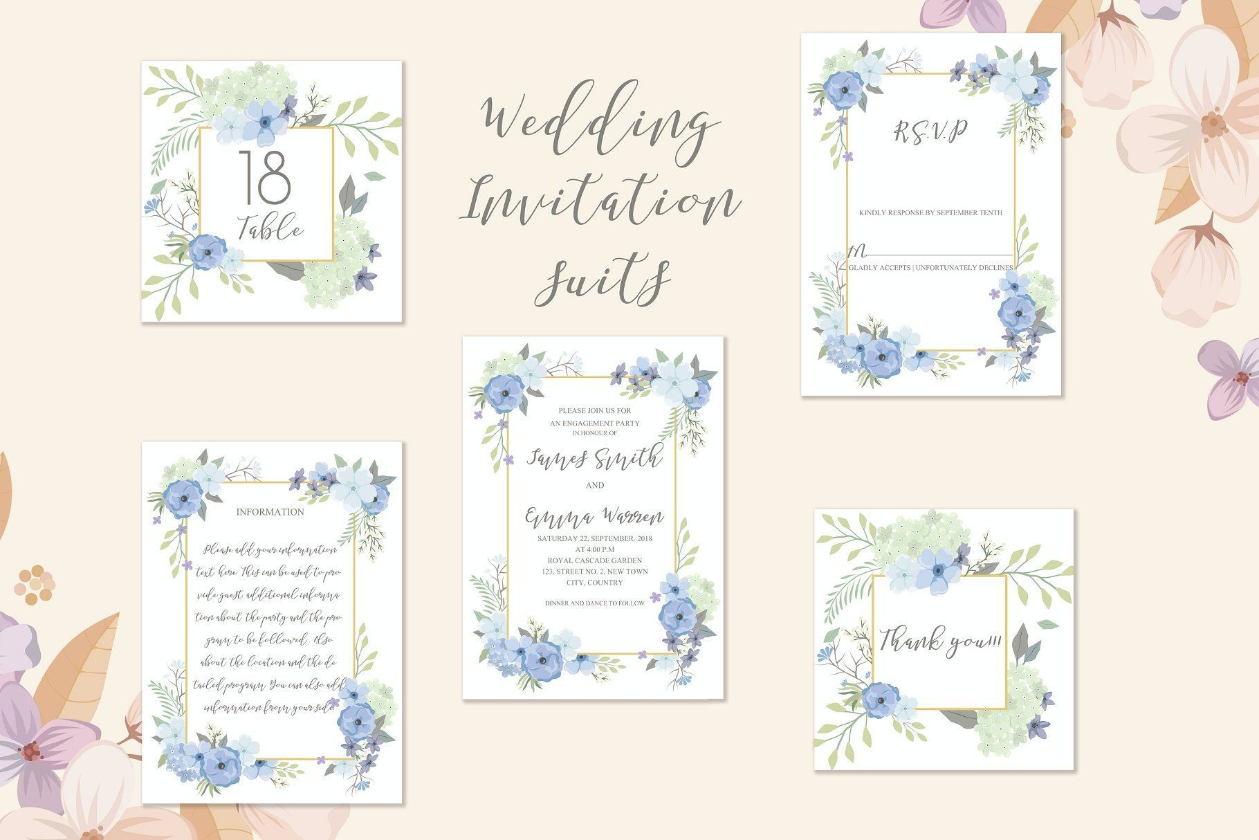 Floral Watercolor Wedding Invitation Suite A Set Of Fully