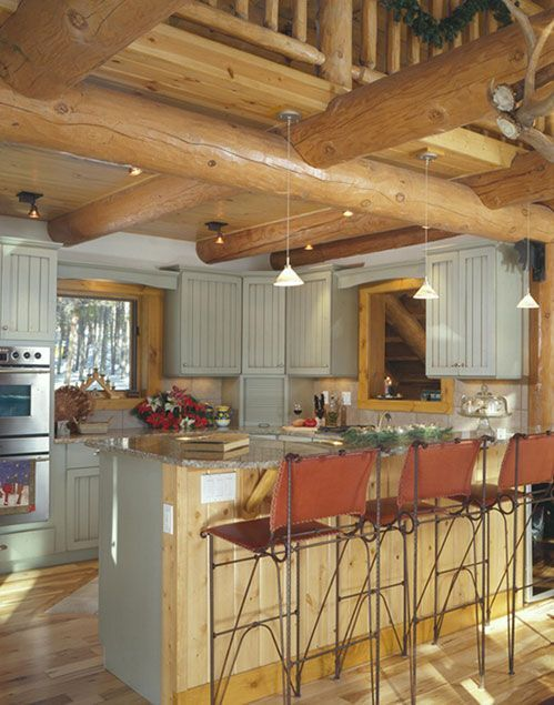prodigious Kitchen Cabinets For Log Cabins Part - 7: pine to painted cabinets. Itu0027s a fresh look to a log house .