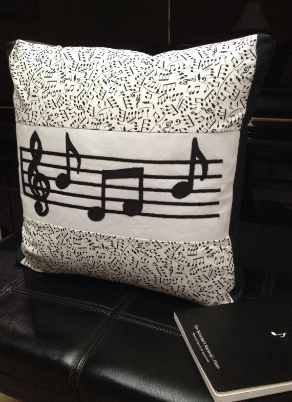 Music Note Pillow Black and White Machine by