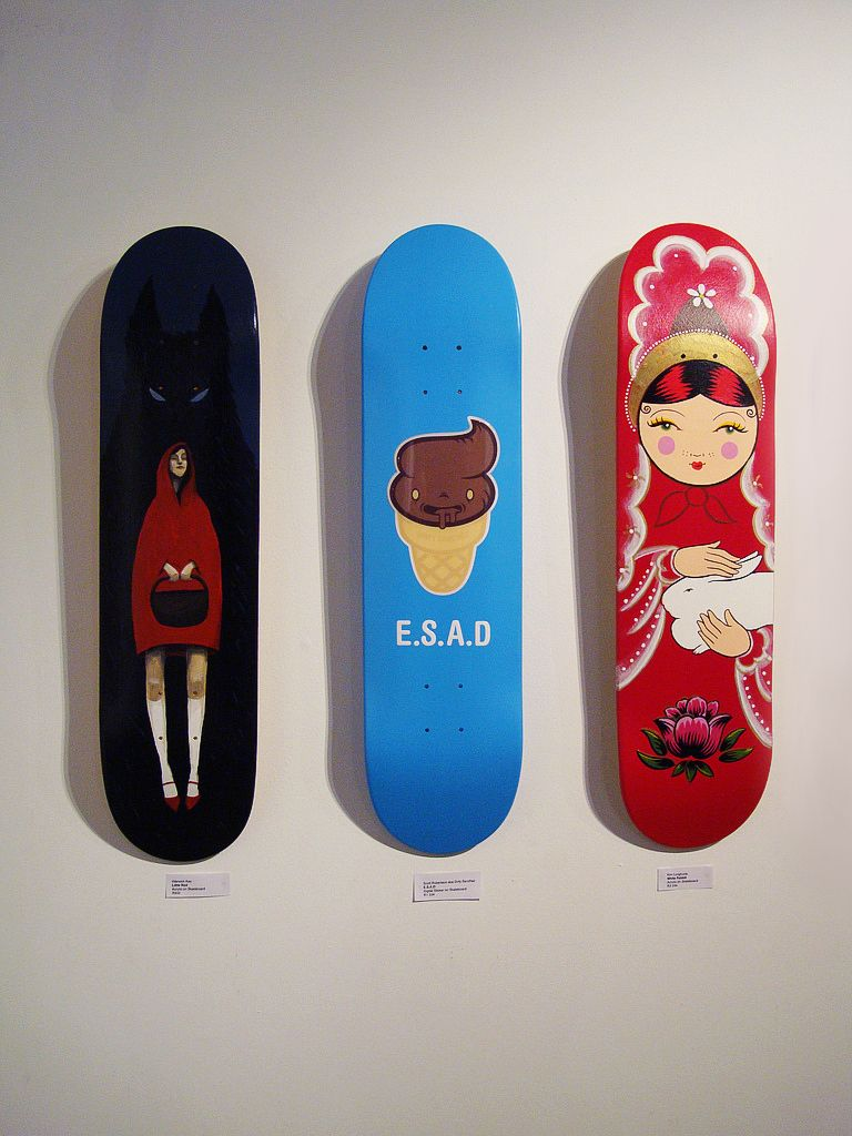 a few more strange skateboard designs these three definitely present the more simplistic art style - Skateboard Design Ideas