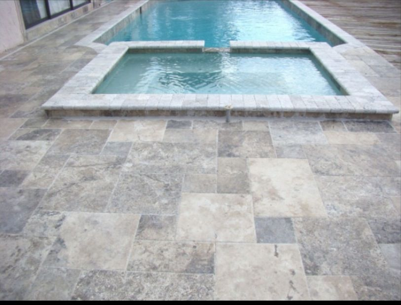 silver grey travertine pool pavers | outdoor/pool | pinterest