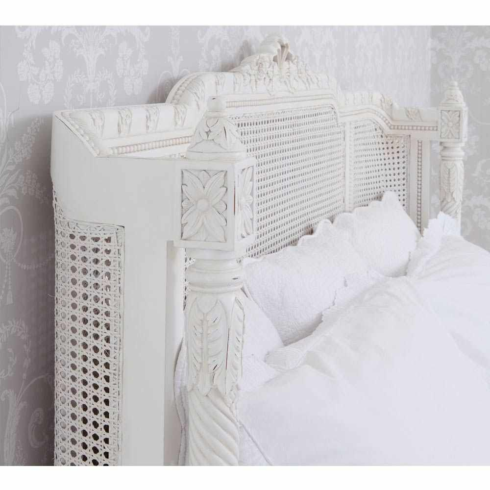 Provencal Lit Lit White Rattan Bed | Luxury Bed