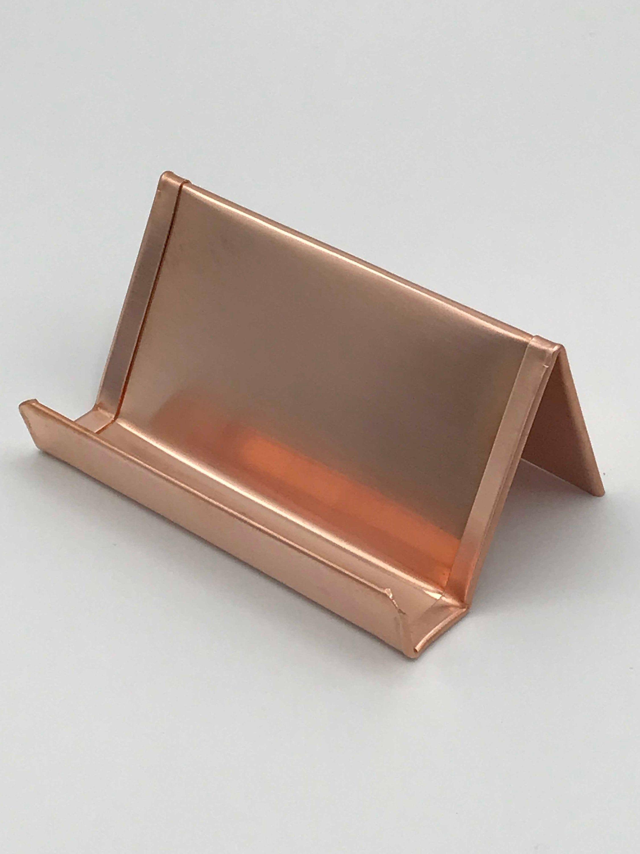 Copper Business Card Holder Copper Anniversary Business Card Etsy In 2020 Copper Desk Accessories Copper Business Cards Business Card Displays