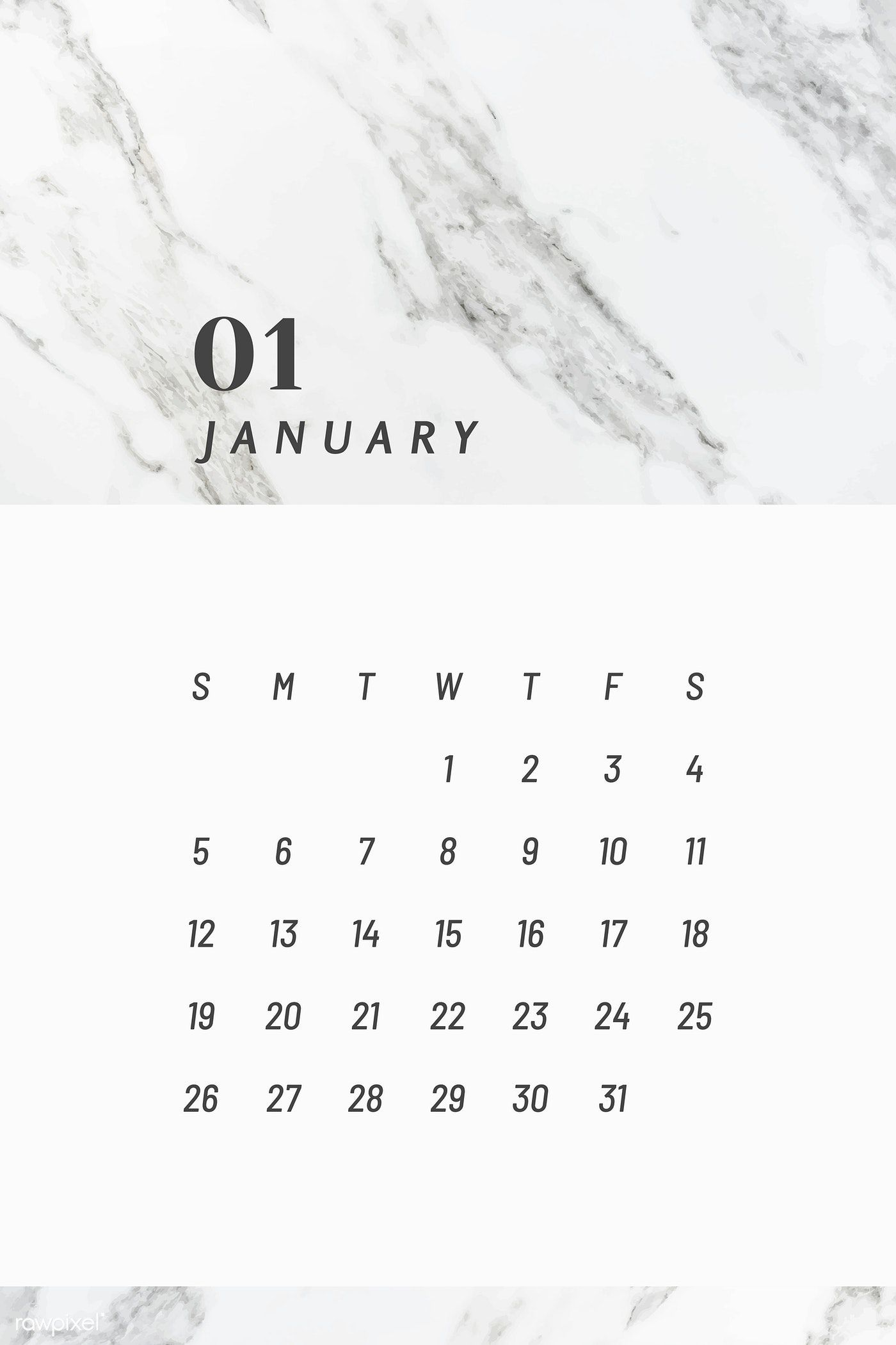 Black And White January Calendar 2020 Vector Free Image By
