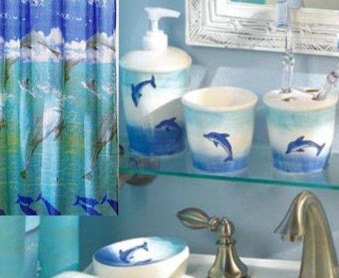 New 6 Pc Dolphin Bathroom Accessories