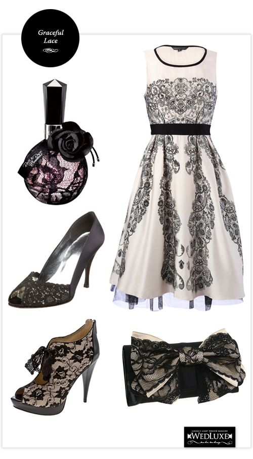 Romantic! Black & White Lace.  Bridesmaids, Engagement Party or Rehearsal Dinner