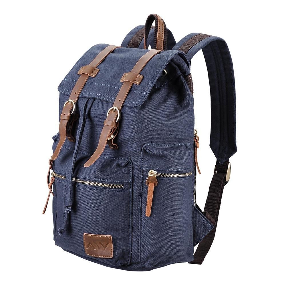 5dada09219c2 Men Women Vintage Canvas Backpack Rucksack Schoolbag Travel Hiking ...