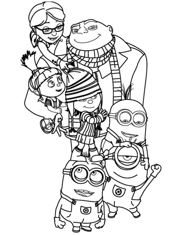 Coloring Page Despicable Me Gru Agnes Edith Margo Minion