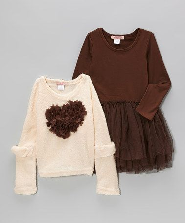 Take a look at this Brown Tulle Dress & Light Pink Heart Sweater ...