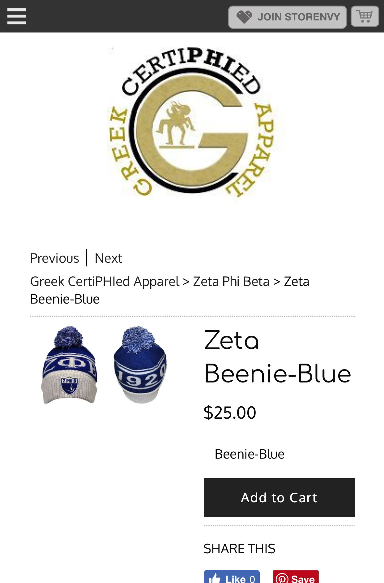6e2cf46b Zeta Beenie-Blue from Greek CertiPHIed Apparel | Onederful Blue ...