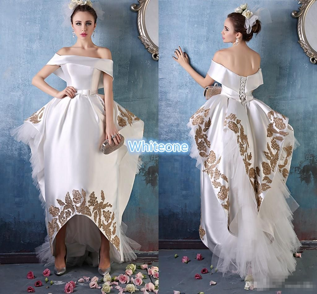 White Prom Dresses Ball Gown Off The Shoulder Gold Applique Ruffle ...