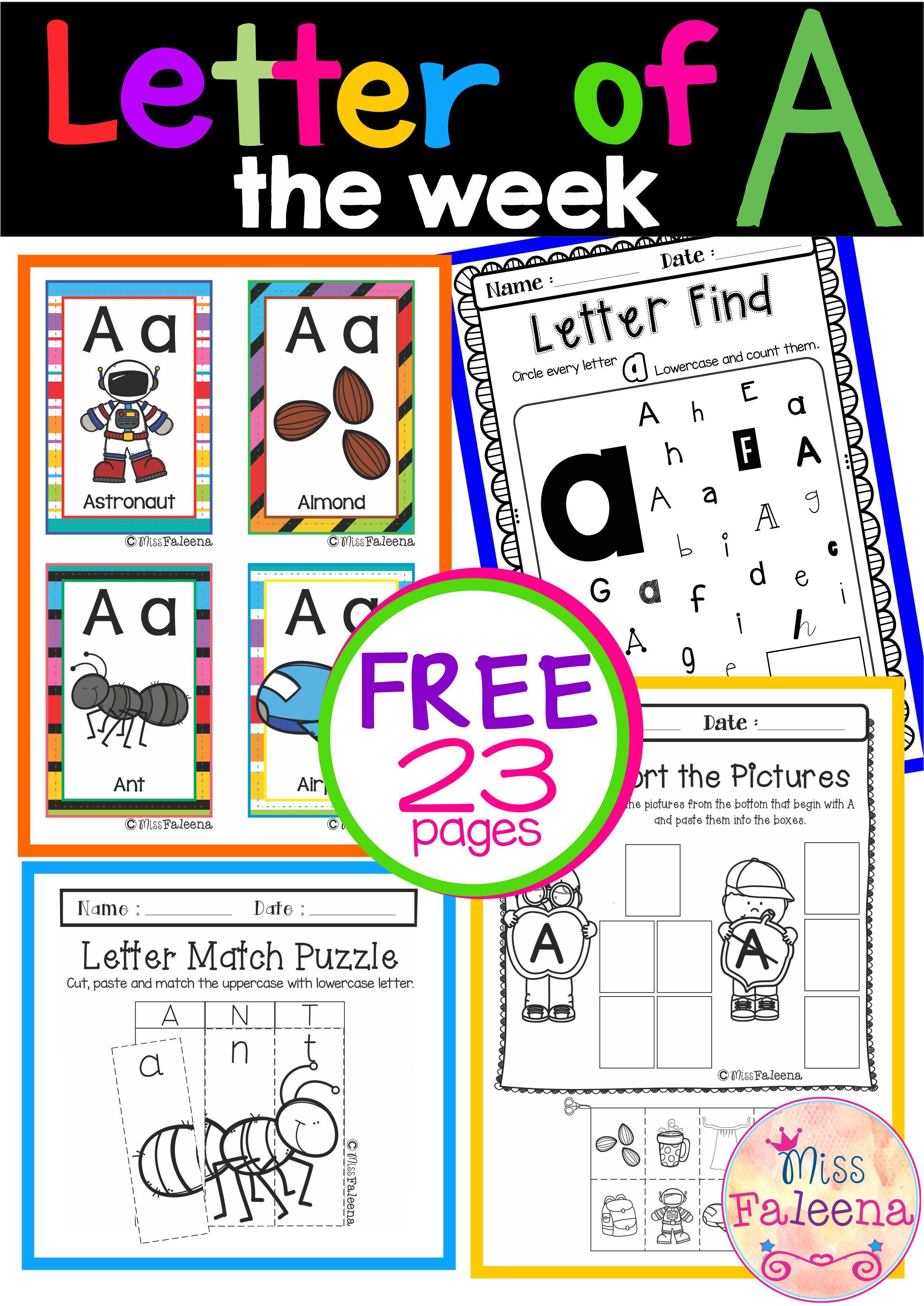 Free Alphabet Letter Of The Week A Letter Of The Week Free Kindergarten Printables Lettering Alphabet