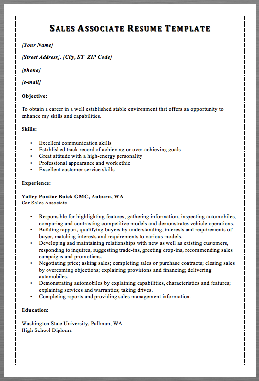 Sales Associate Resume Template Macrobutton Dofieldclick Your Name Macrobutton Dofieldclick Street Addres Sales Resume Sales Resume Examples Resume Examples