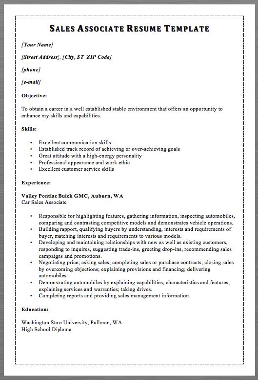 sales associate resume template macrobutton dofieldclick