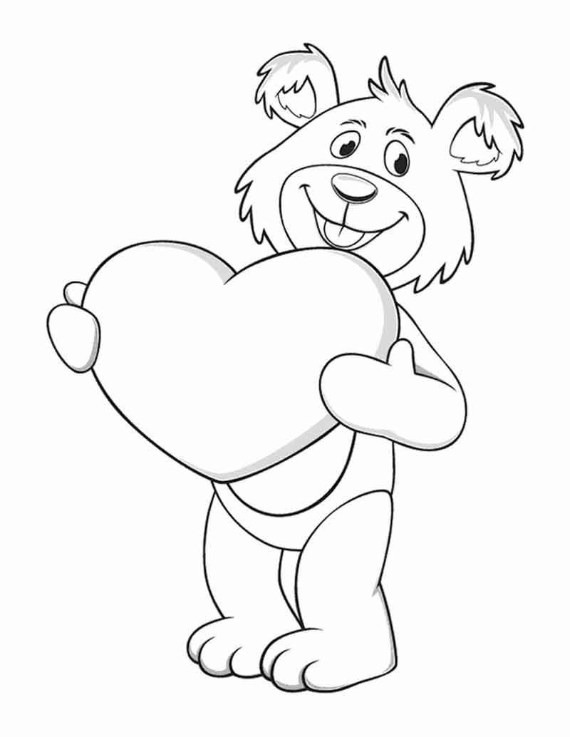Free Bear Valentines Heart Coloring Pages Di 2020