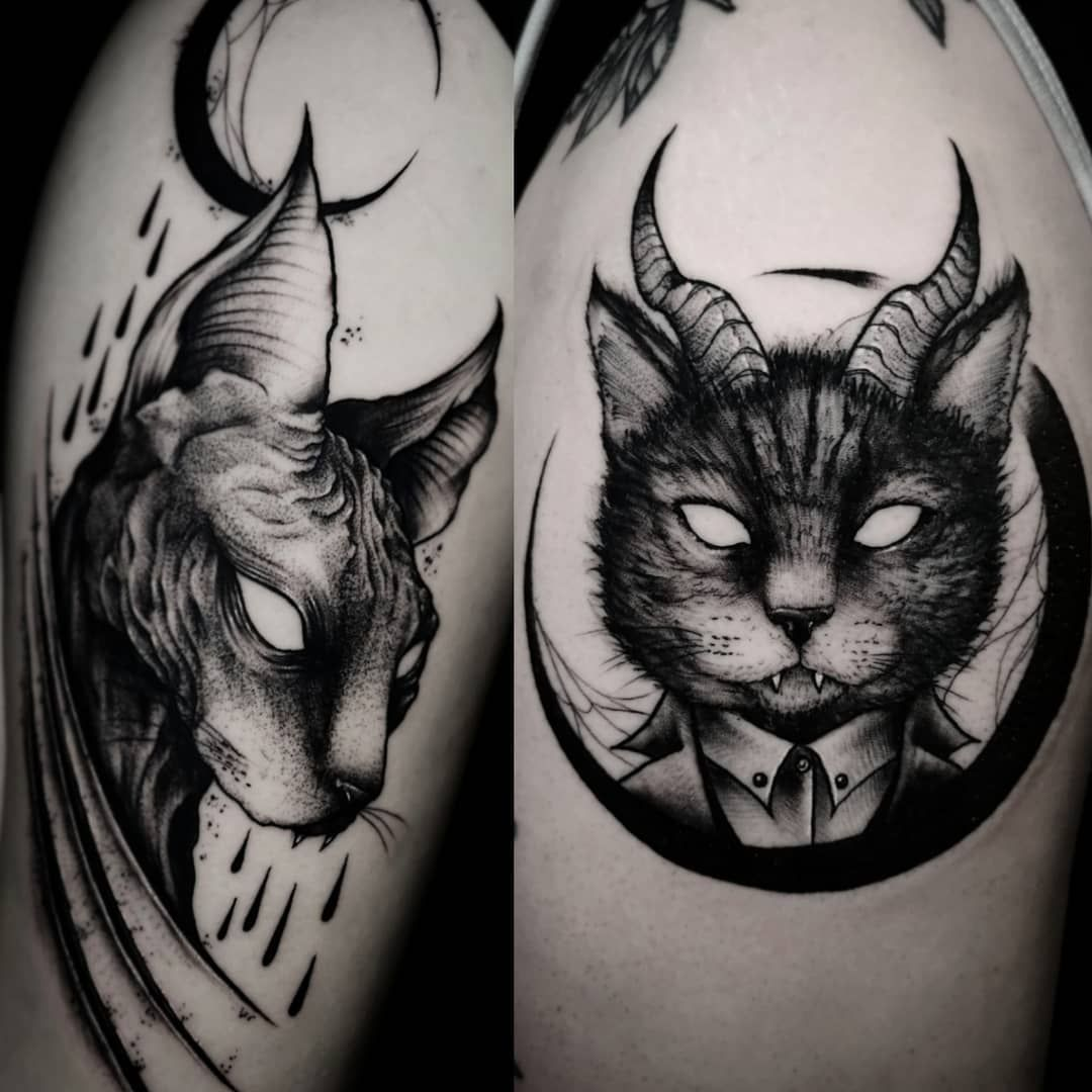 Sphynx Or Hairy Cat Blackhopecurse Darkartists Blackworkers Artesobscurae Blackworkerstattoo Blackartsupport Cat Tattoo Designs Cat Tattoo Mouth Tattoo