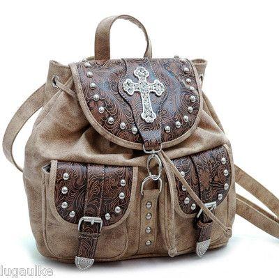 Western floral embossed Backpack Style Bag-Purse w/ rhinestone ...