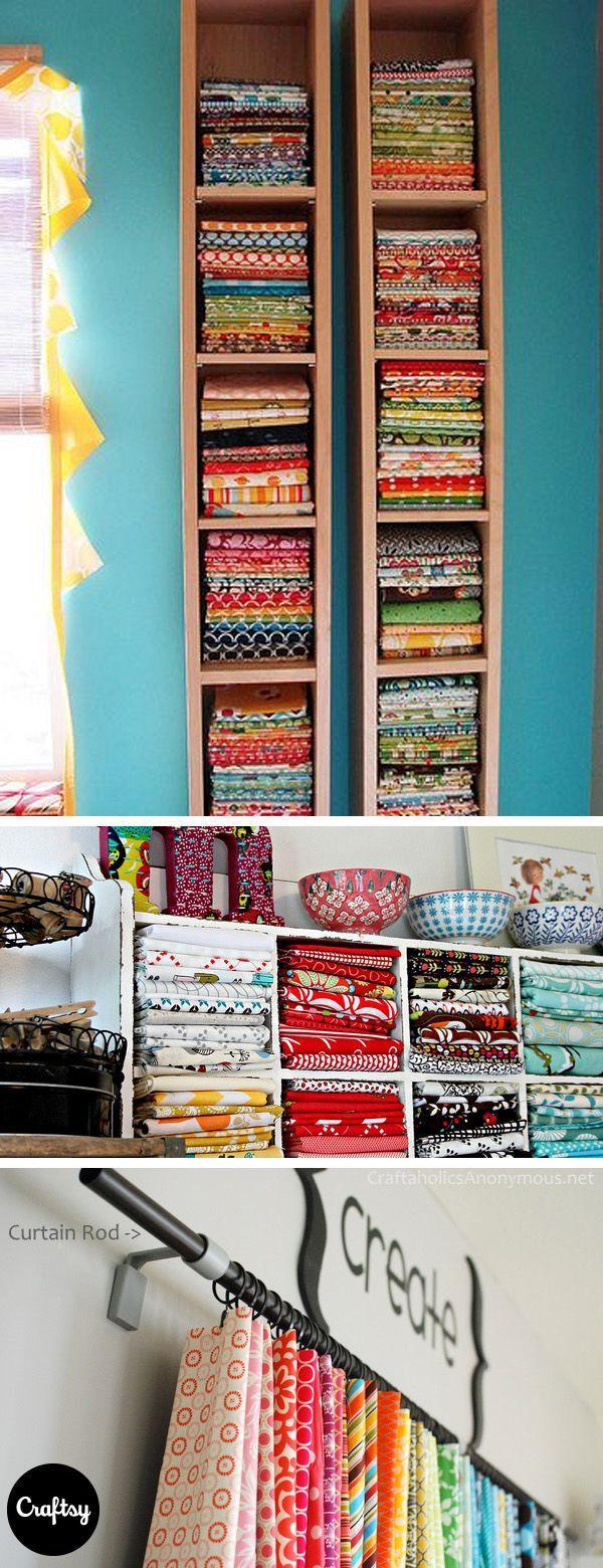6 Genius Ways to Organize Your Fabric Stash #craftroomideas