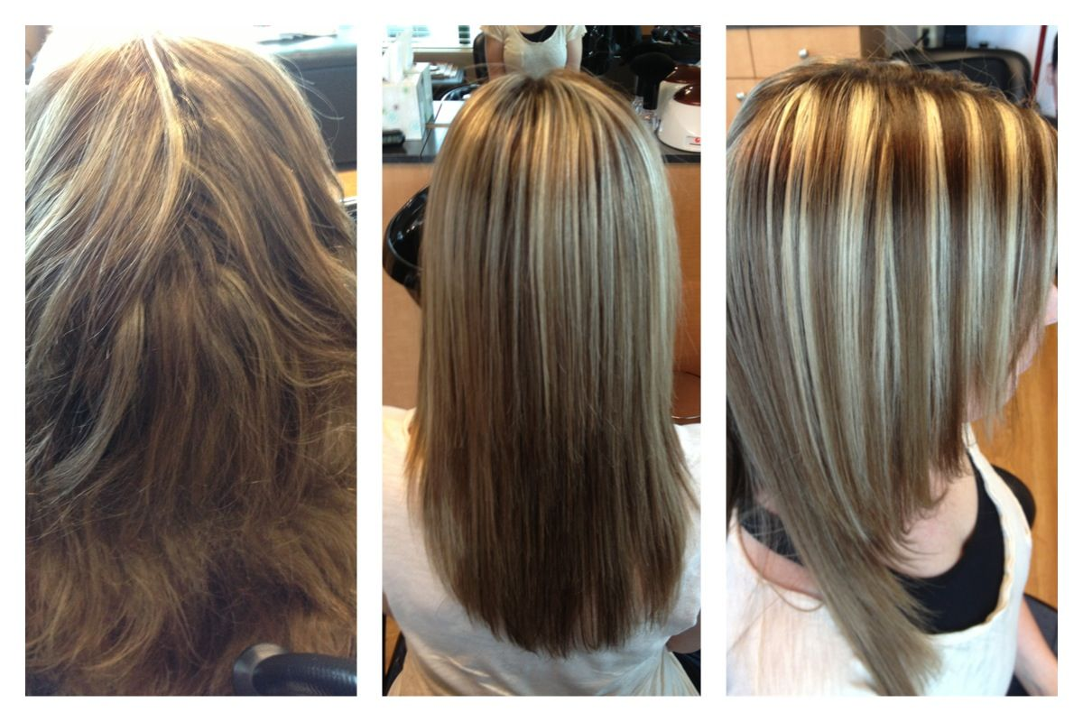 Keratin Treatment Brown Hair And Chunky Blonde Highlights
