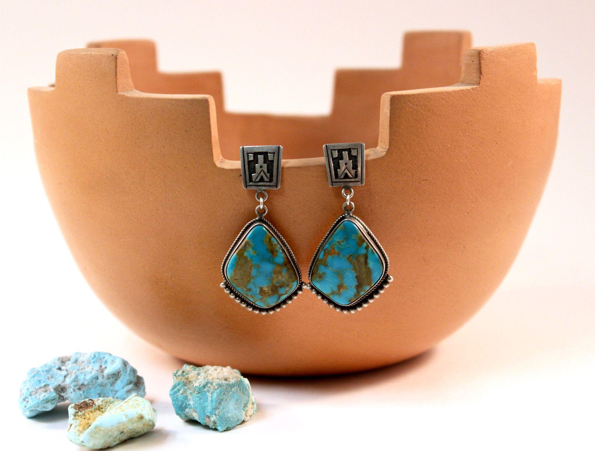 Pueblo Earrings Pilot Mountain Turquoise Sterling Silver Navajo Handmade Gary Nes