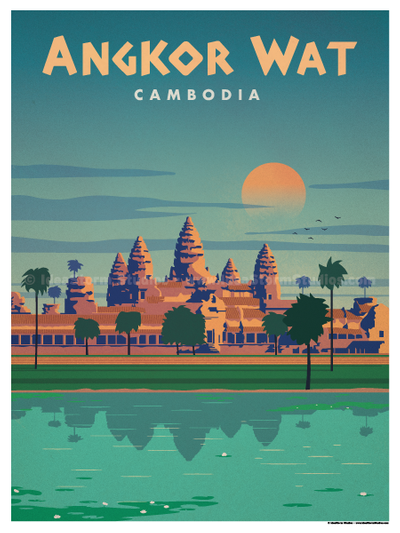 Image of Angkor Wat Poster is part of Retro travel poster -