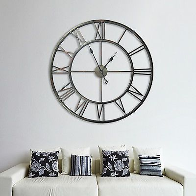 Huge Metal Iron Roman Number Wall Clocks Vintage Home Decoration 110cm Diameter In Home Wall Clocks Living Room Kitchen Wall Clocks Clock Wall Decor