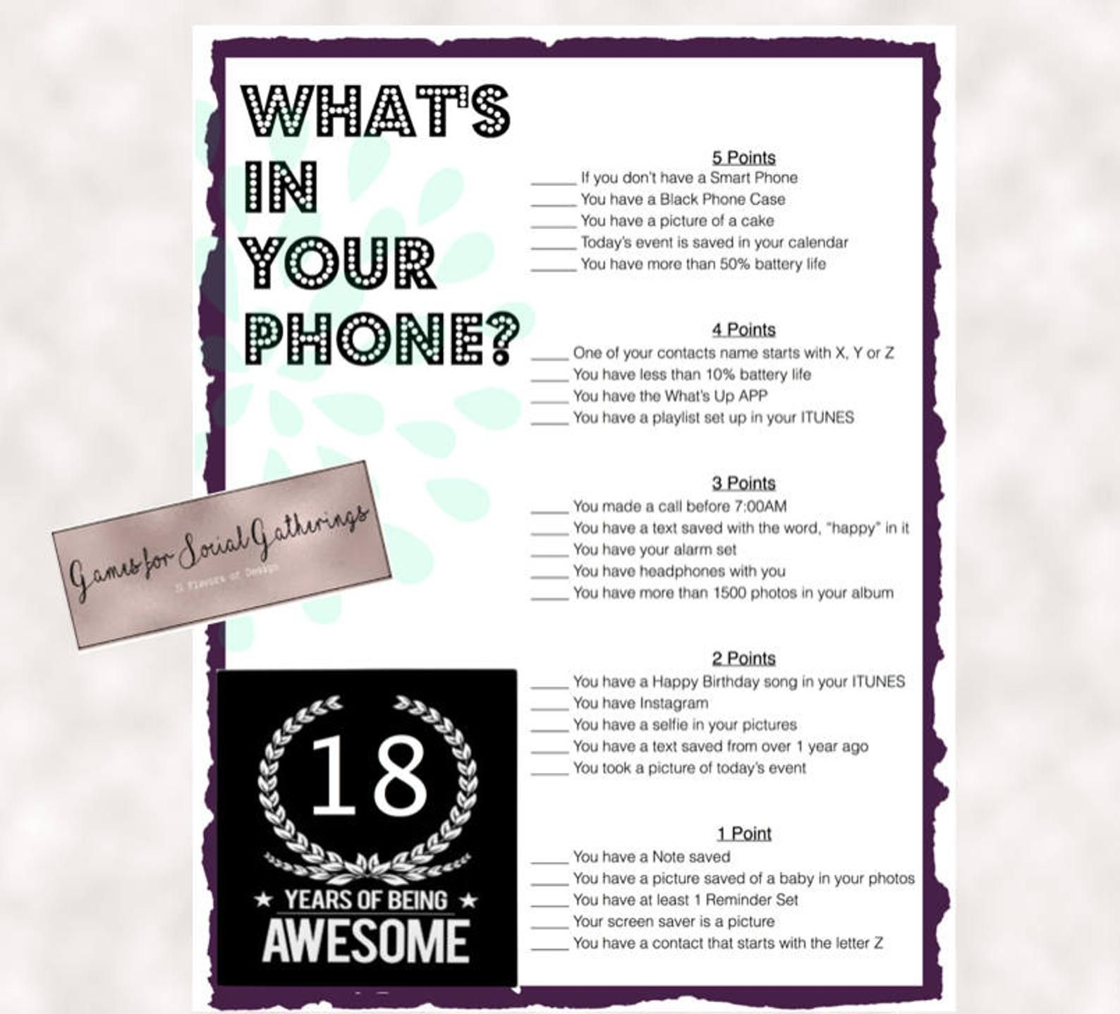 18th Birthday Party Game Whats In Your Phone Birthday Party Etsy 18th Birthday Party Birthday Party Games 18th Birthday