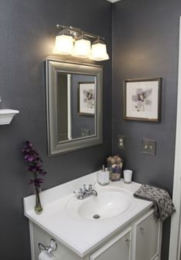 Grey Bathroom With Purple Accents