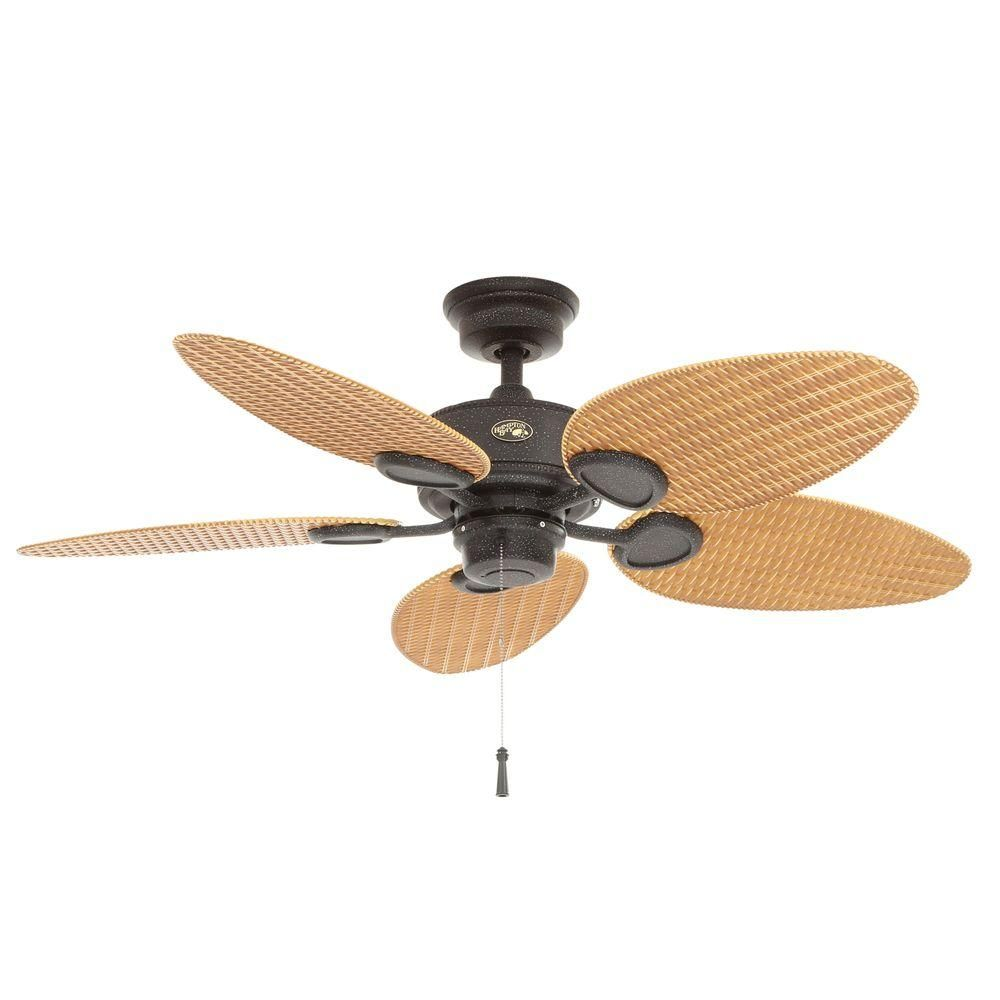 Hampton Bay Palm Beach 48 in. Gilded Iron Indoor/Outdoor Ceiling Fan ...