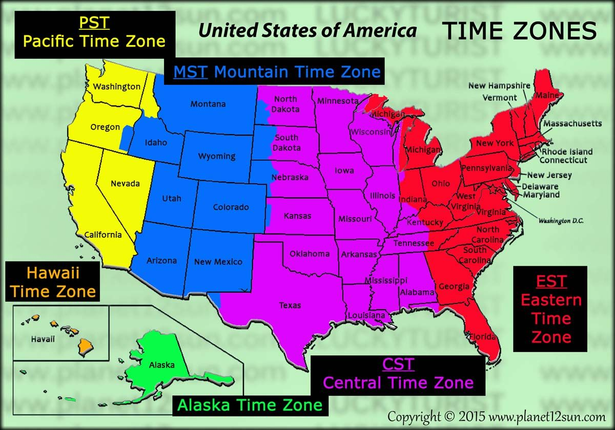 medium resolution of Time Zones   United states geography