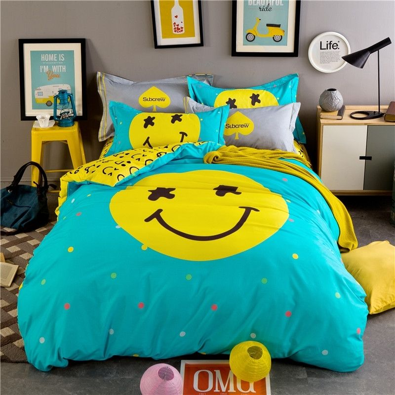 Turquoise And Lemon Yellow Smiley Face Print Cute Design Modern Chic Cartoon Themed 100 Brush Turquoise Duvet Cover Turquoise Bedspread Turquoise Bedding Sets