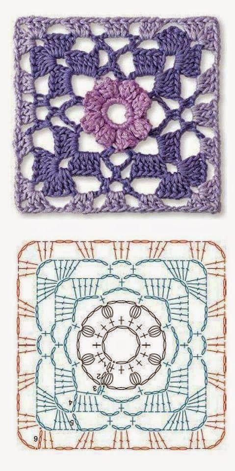 Quadradinho De Crochê | Virkkaus | Pinterest | Croché, Ganchillo y ...