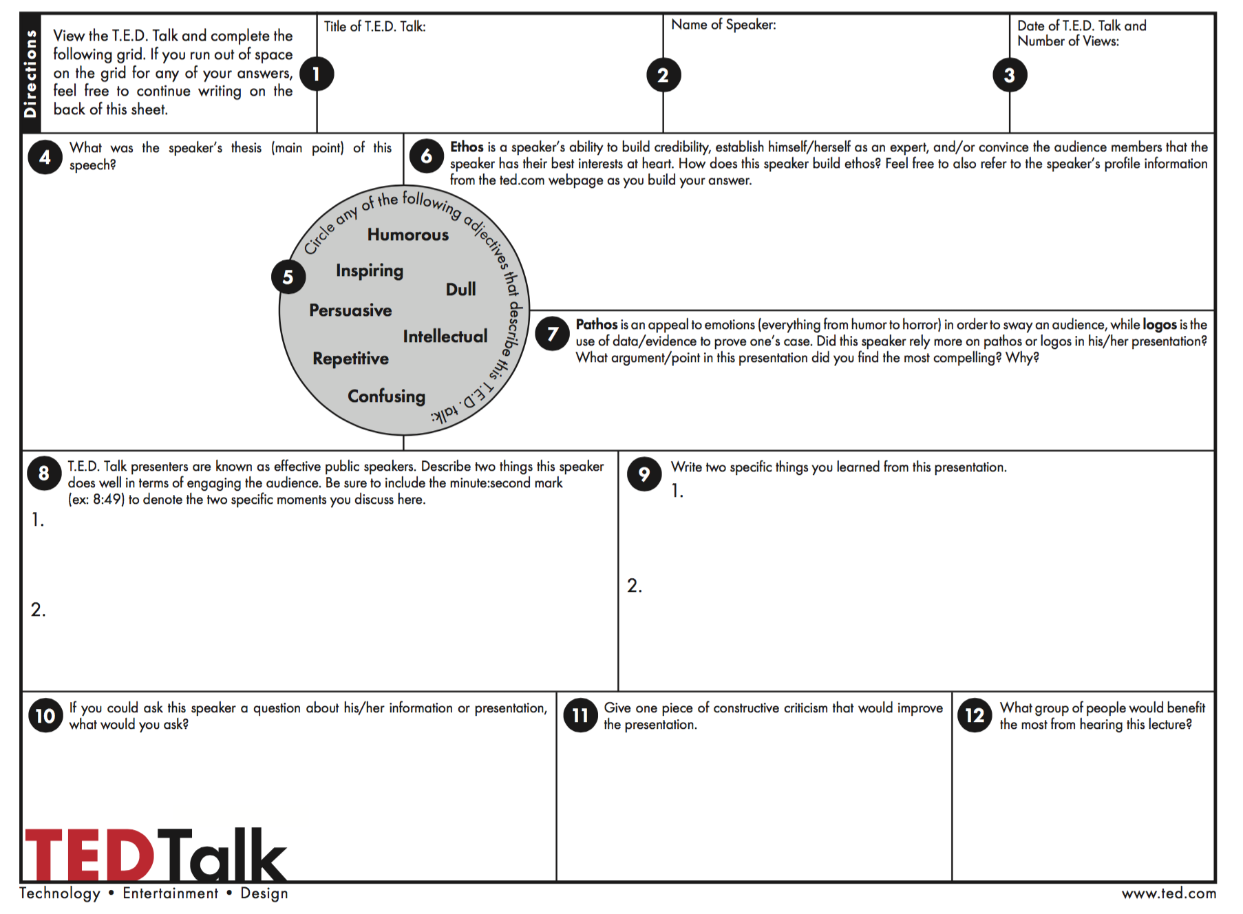 Ted Talk Student Reflection Worksheet