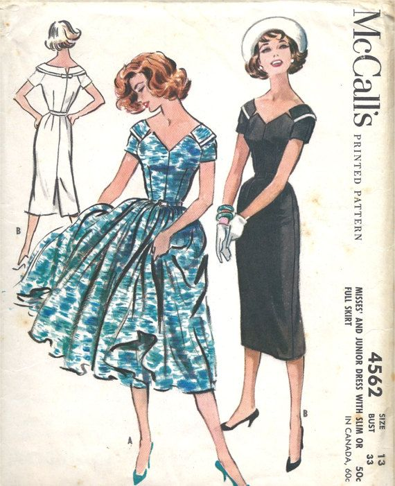 Late 1950\'s Dress with Wide V Neckline Short Sleeves | Lovely ...