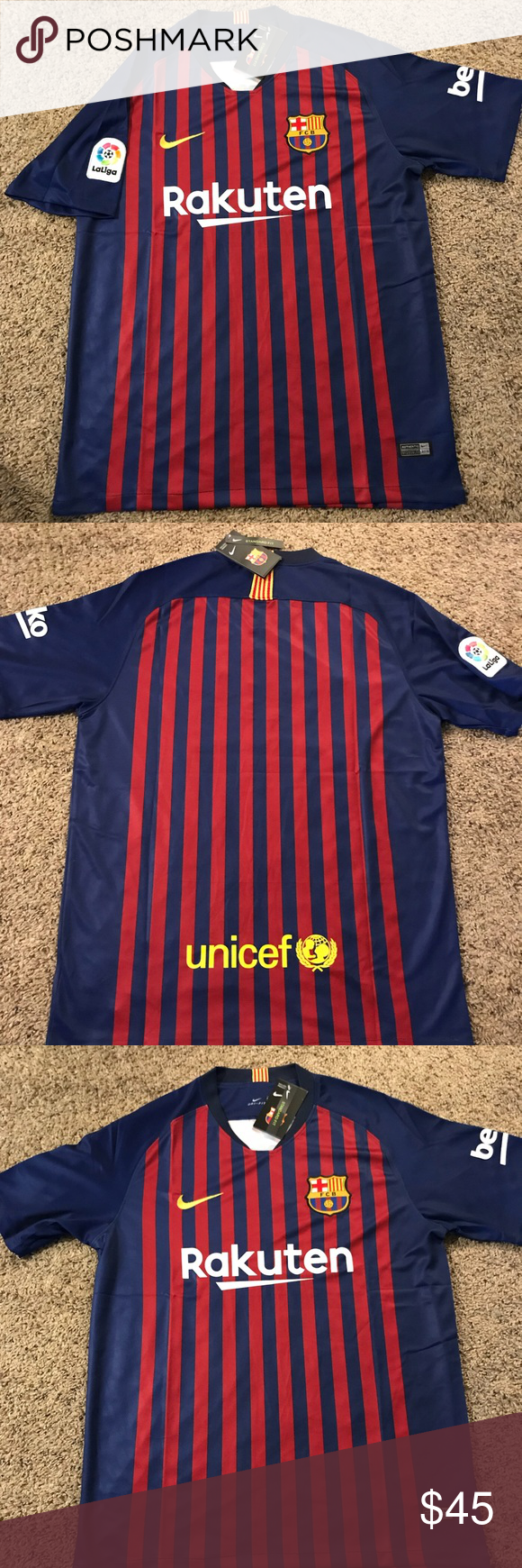 0679c3152 FC Barcelona Jersey 2018-2019 Home Latest Home Jersey FC BARCELONA FREE  SHIPPING Shirts Tees - Short Sleeve