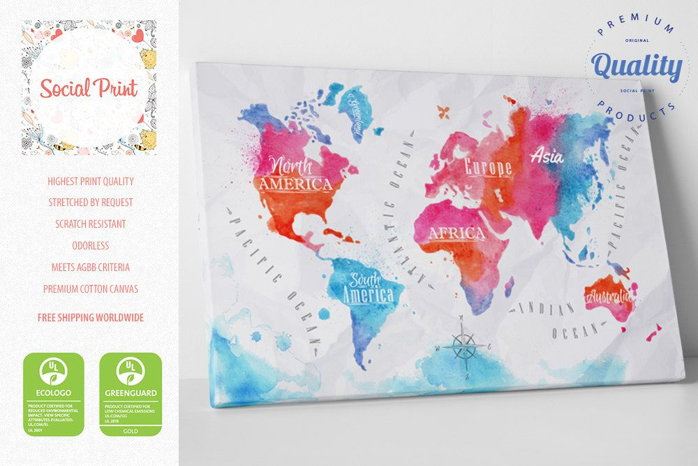 Watercolor world map canvas print free shipping home decor watercolor world map canvas print free shipping home decor world map canvas gumiabroncs Image collections