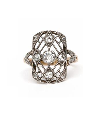 Vintage Edwardian Platinum and Gold Old Mine Cut Diamond Ring
