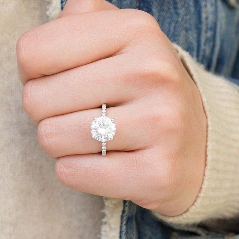 18k White Gold Petite Shared Prong Diamond Ring 1 4 Ct Tw Unique Engagement Rings Gorgeous Wedding Rings Wedding Rings Engagement
