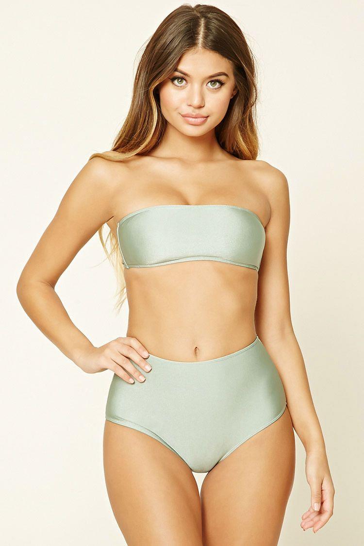 3f3b3c43eae72f A pair of knit bikini bottoms featuring a metallic shimmer and a high  waist. Matching bikini top available.