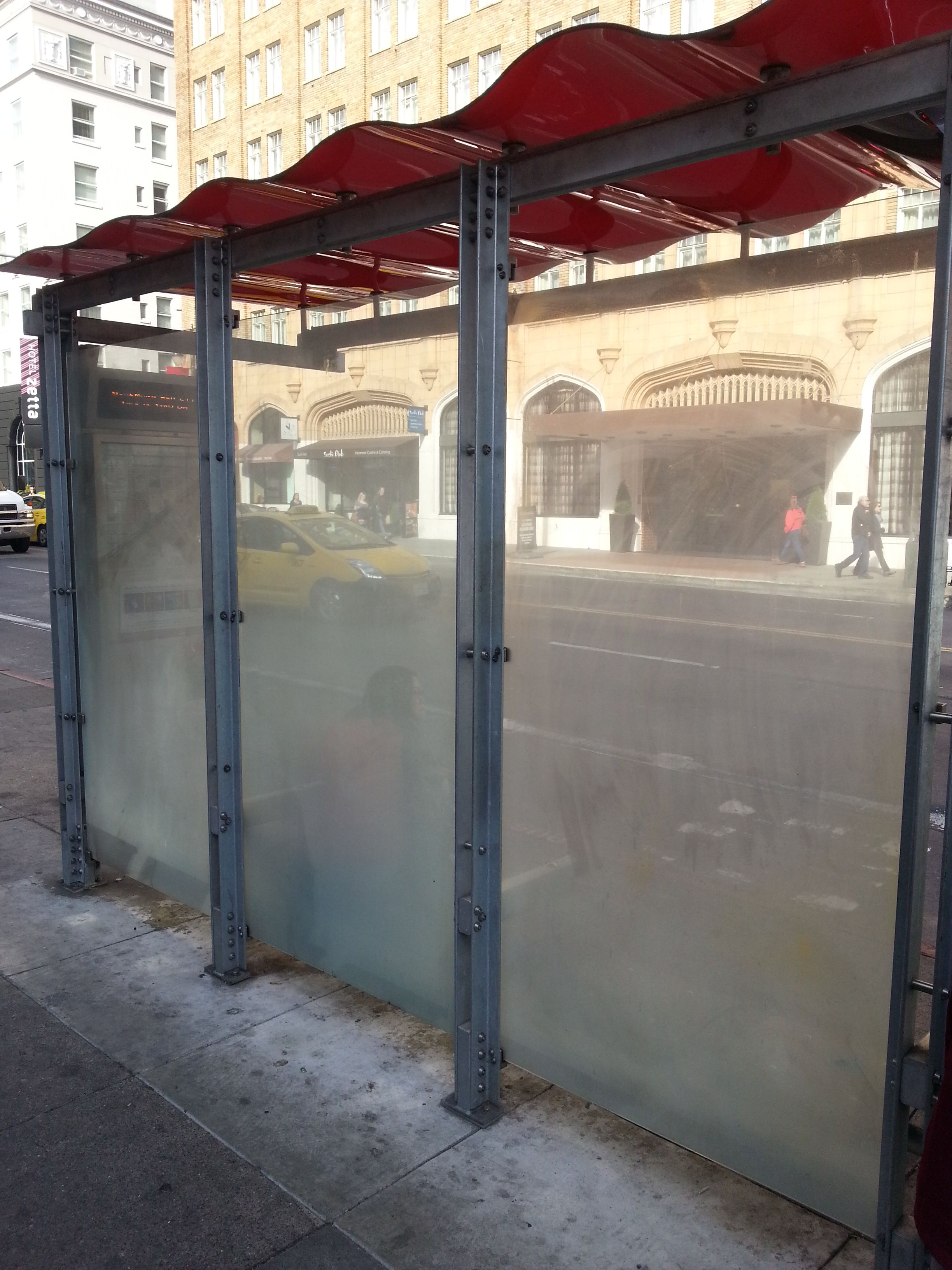Empty space on Bus shelter that would be interesting to use