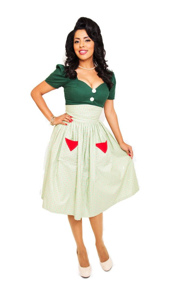 Full Skirt pinup girl vintage clothing inspired rockabilly SALE $65.00 USD Only 1 availa