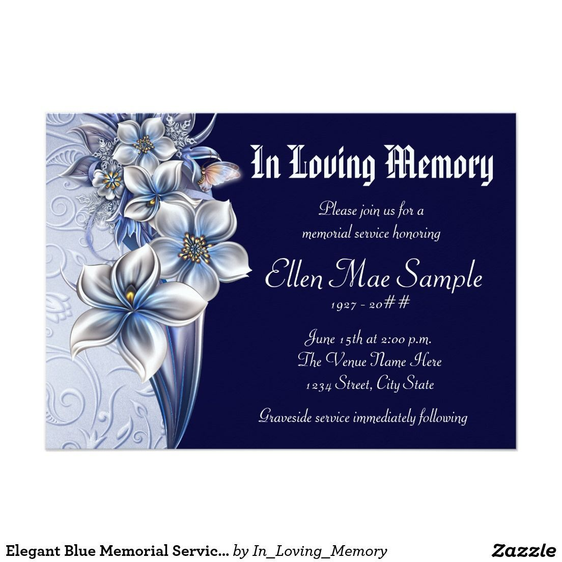 Elegant Blue Memorial Service Announcements Zazzle With Death Anniversary Cards Tem Memorial Service Invitation Funeral Invitation Memorial Cards For Funeral