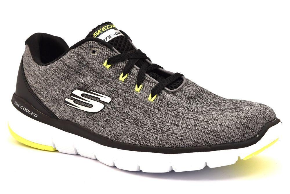 Dettagli su SKECHERS 52957 GYBK STALLY GRIGIO Nero Sneakers ...