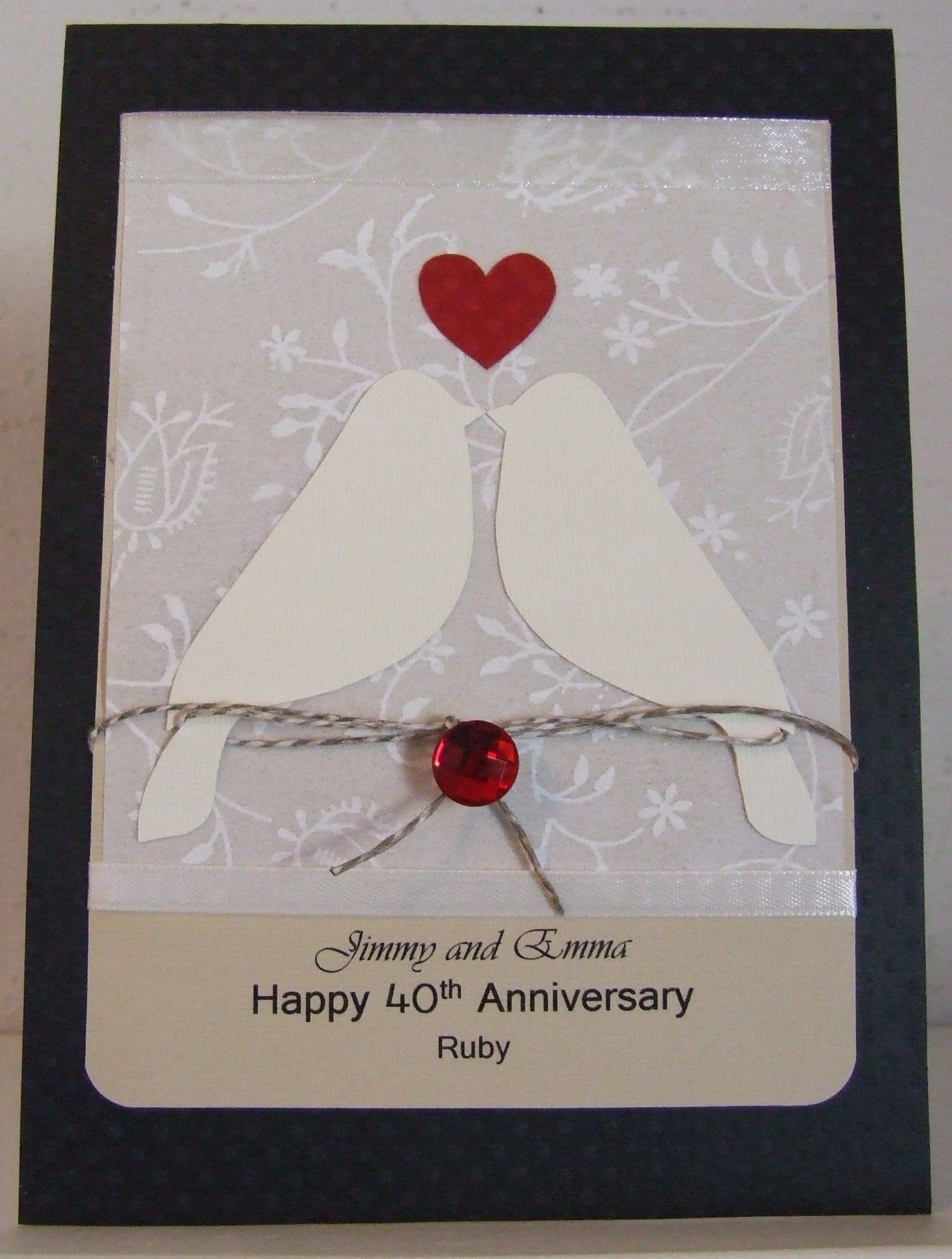 40th Ruby Wedding Anniversary Card Anniversary Cards Handmade