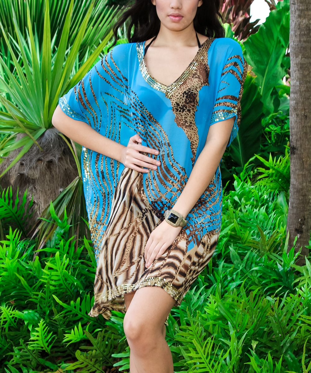 Blue & Brown Jungle Cover-Up