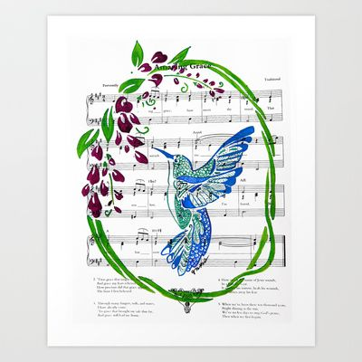 Carrier of Hope (Hummingbird and Wisteria) Art Print by Janin Wise - $15.60