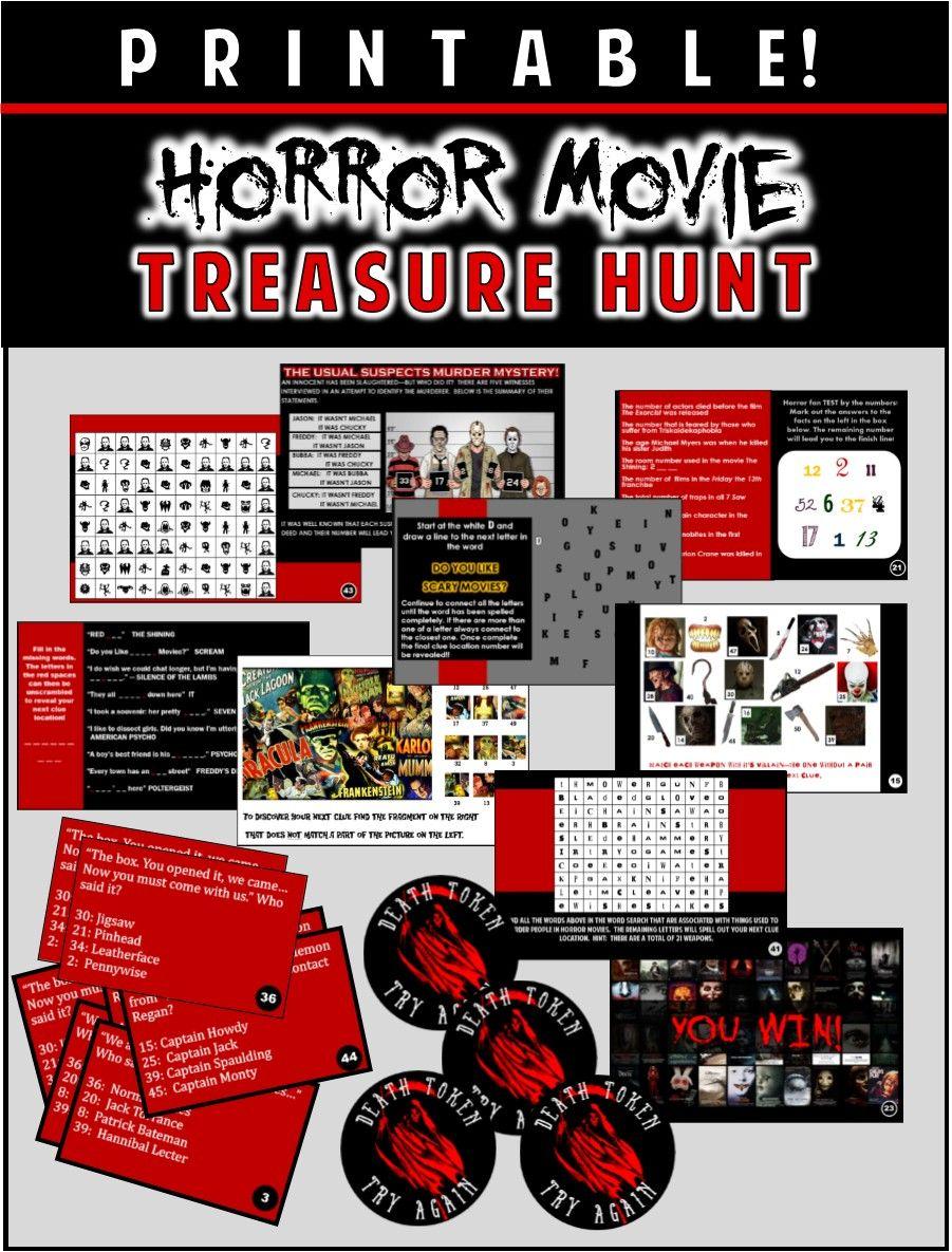 horror movie party game - printable horror flick trivia treasure