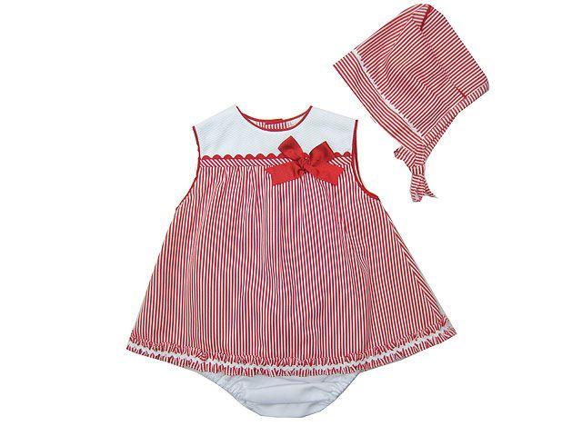 cff2450c8fec3 Jesusito de estilo marinero en rojo y blanco con capota y braguita -  Jesusitos para Niña hasta los 4 Años - Mundo Kiriko